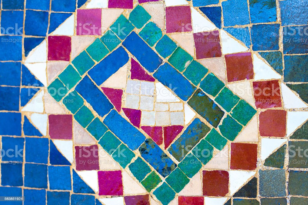 Colorful Moroccan Tile Inlay (Close-Up) stock photo