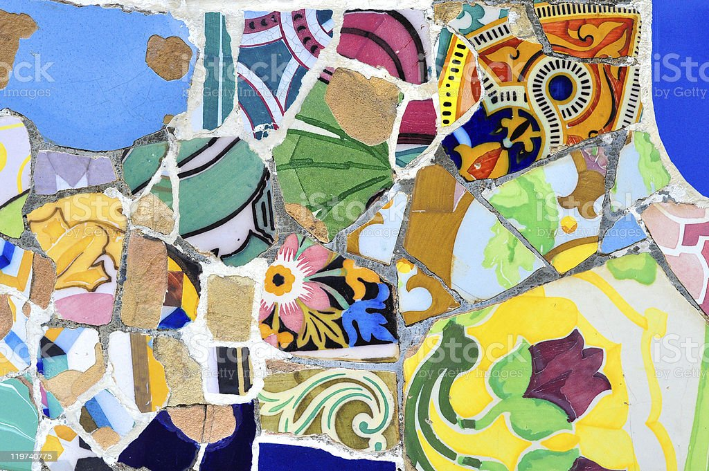 Colorful mosaic in Guell park, Barcelona royalty-free stock photo