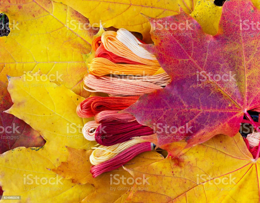 Colorful Mouline Threads stock photo