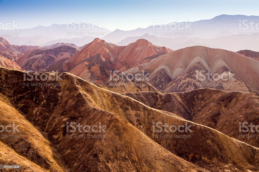 Colorful mountain in Danxia landform in Zhangye, Gansu of China stock photo
