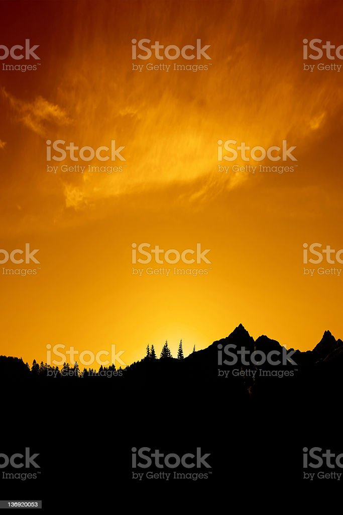 XXXL colorful mountain sunset royalty-free stock photo