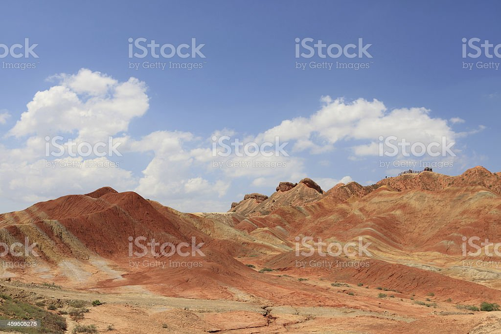 Colorful mountains against blue sky stock photo