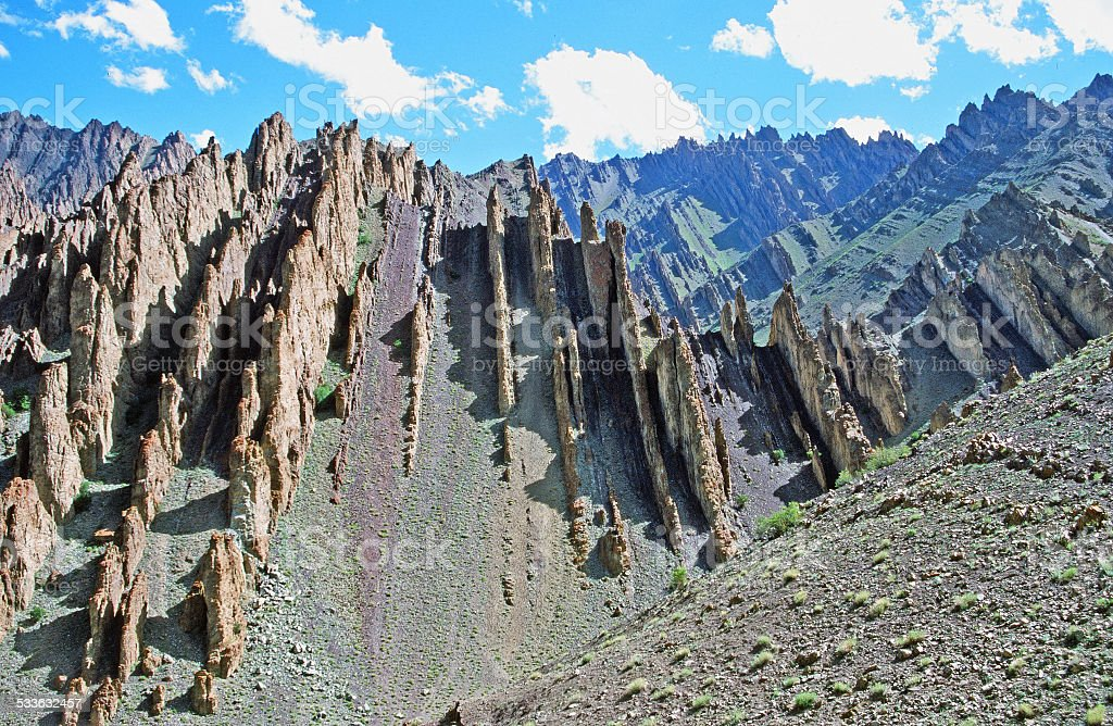 colorful mountains and fantastically shaped rock formations stock photo