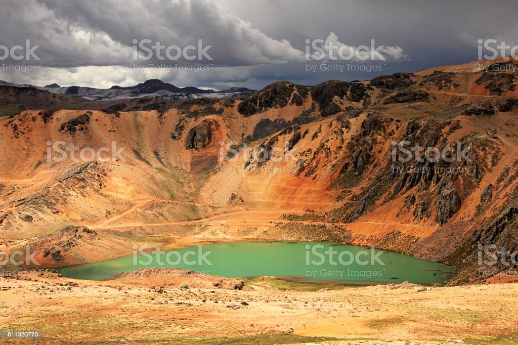 Colorful mountains in peruvian andes stock photo