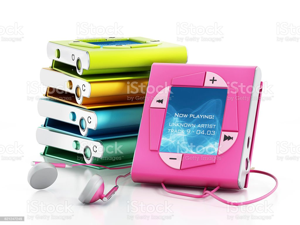 Colorful mp3 players stock photo