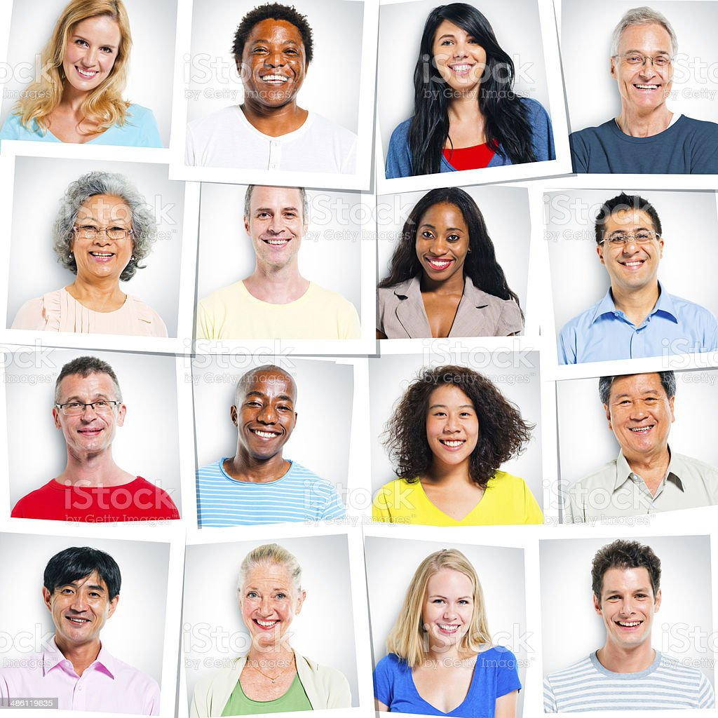Colorful Multi-Ethnic Group Of People Smiling royalty-free stock photo
