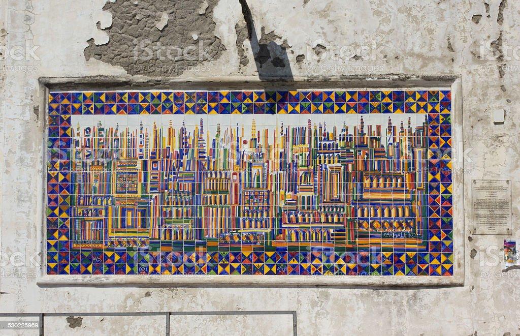 Colorful mural in Amalfi hand painted ceramics stock photo