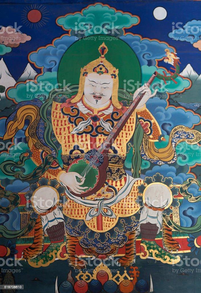 Colorful mural inside Rinpun Dzong in Paro, Bhutan - Asia stock photo