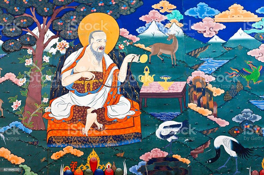 Colorful mural inside Rinpun Dzong monastery in Paro, Bhutan stock photo