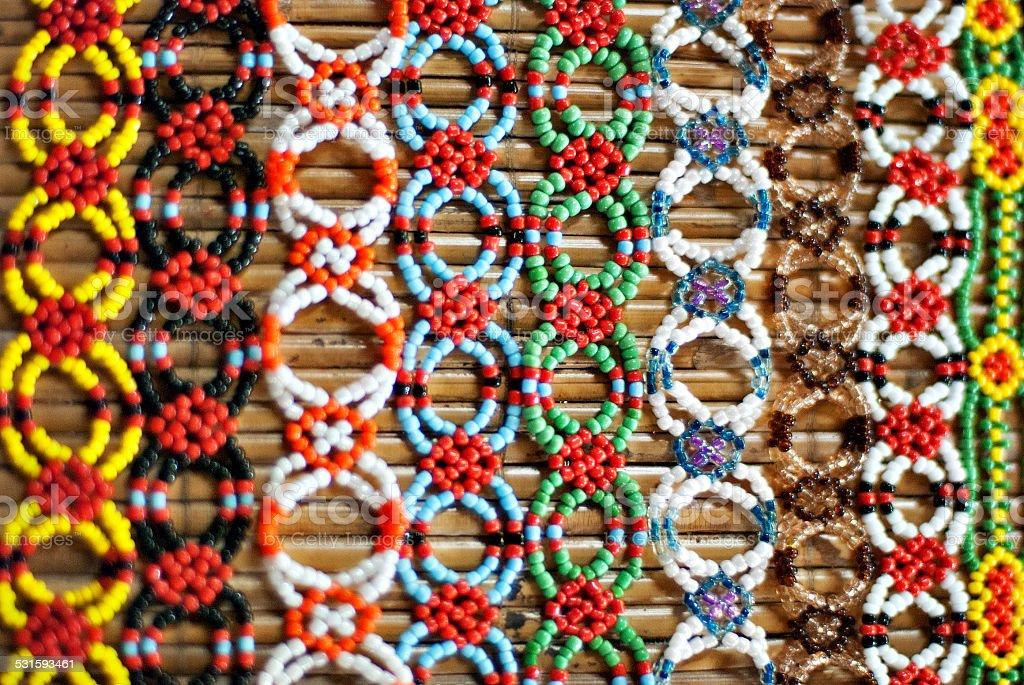 Colorful Murut beading work on display stock photo