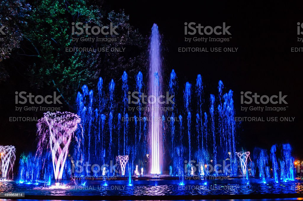 Colorful musical fountain stock photo