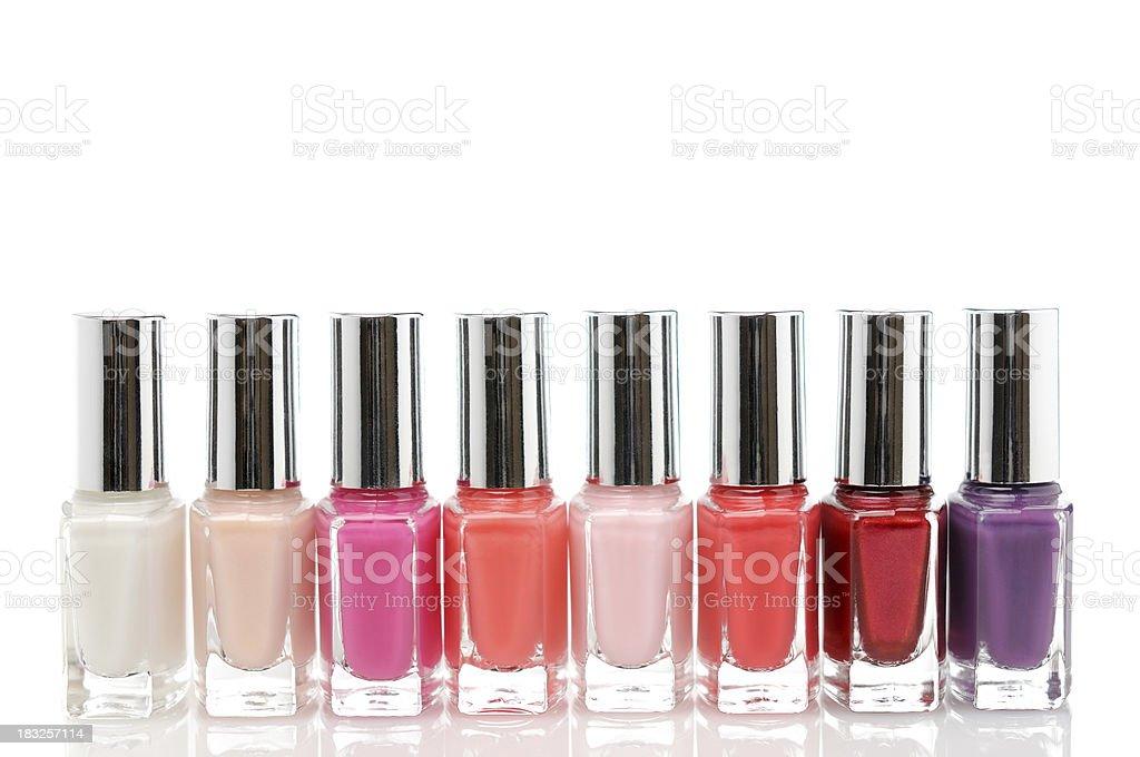 Colorful nail polish bottles stock photo