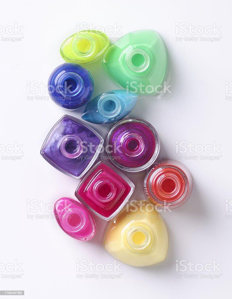 colorful nail polishes stock photo