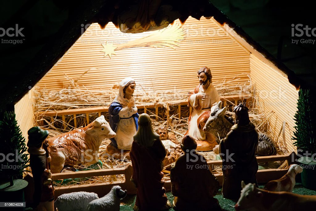 Colorful nativity scene stock photo