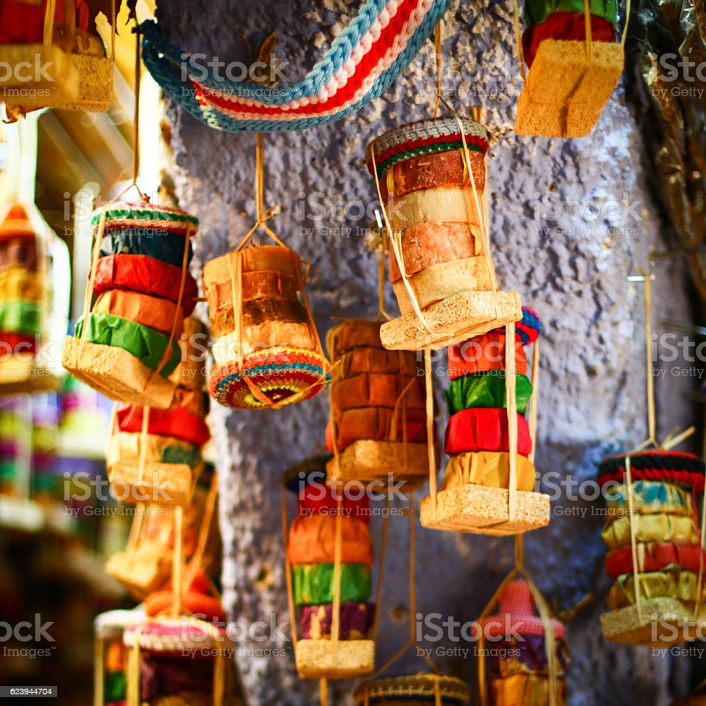 Colorful natural souvenirs herbal soaps stock photo