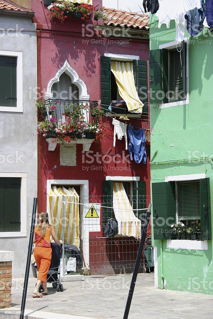 Colorful neighborhood (Burano, Venetian Isles) royalty-free stock photo
