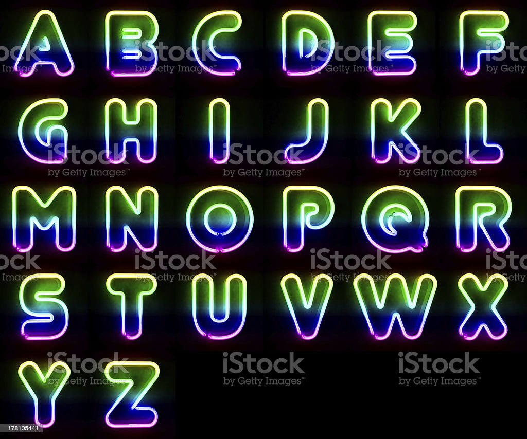 Colorful Neon Letters royalty-free stock photo
