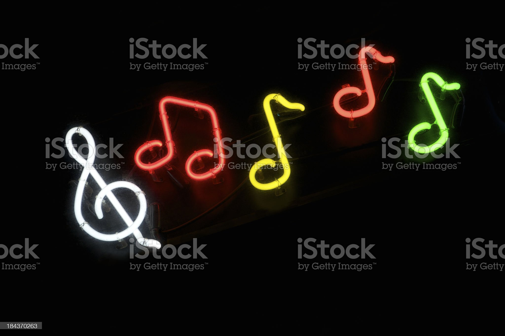 Colorful Neon Musical Notes Black Background royalty-free stock photo