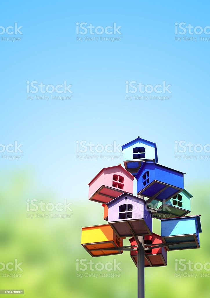 Colorful nesting boxes stock photo