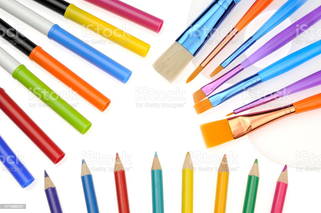 Colorful New Brushes, Markers, Pencils; White Background, Fun School Supplies royalty-free stock photo