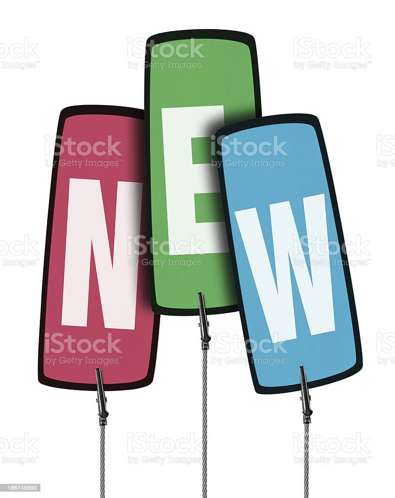 Colorful New Tag  in Wire Clamp 4 (Clipping Path) royalty-free stock photo