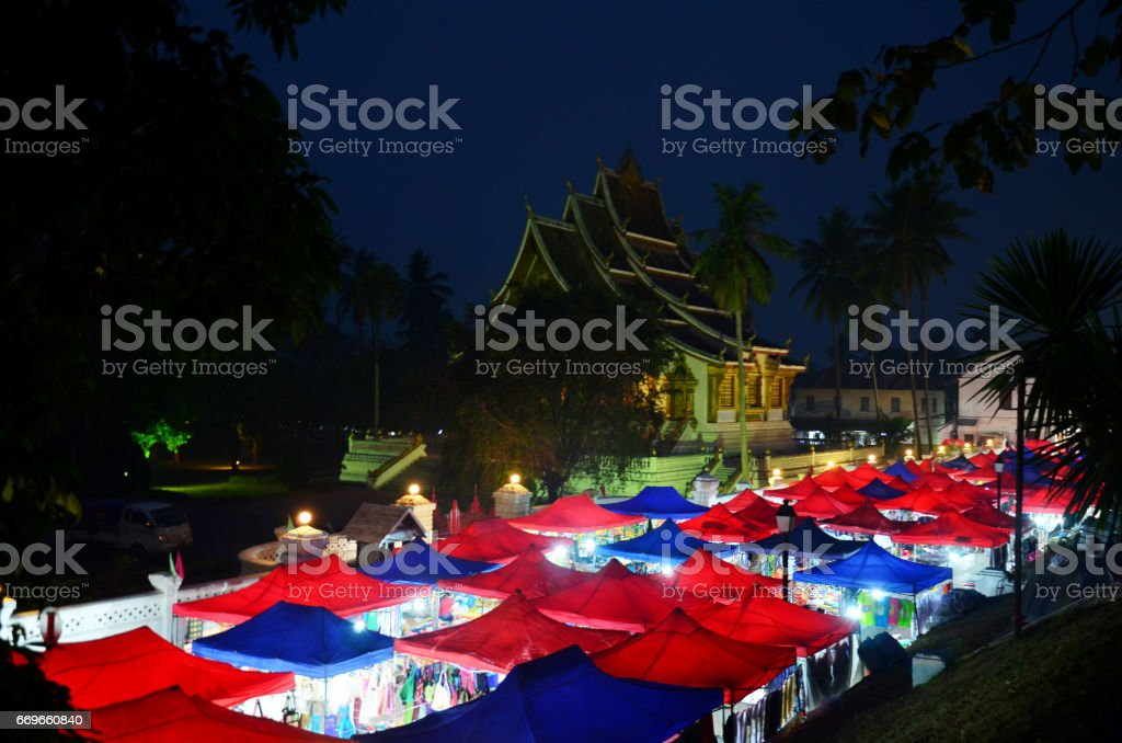 Colorful Night market such as Thalat Sonpao or Thalat Dalat for traveller shopping stock photo