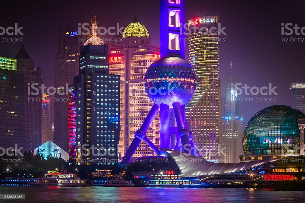 Colorful night view of Oriental Pearl Tower area stock photo