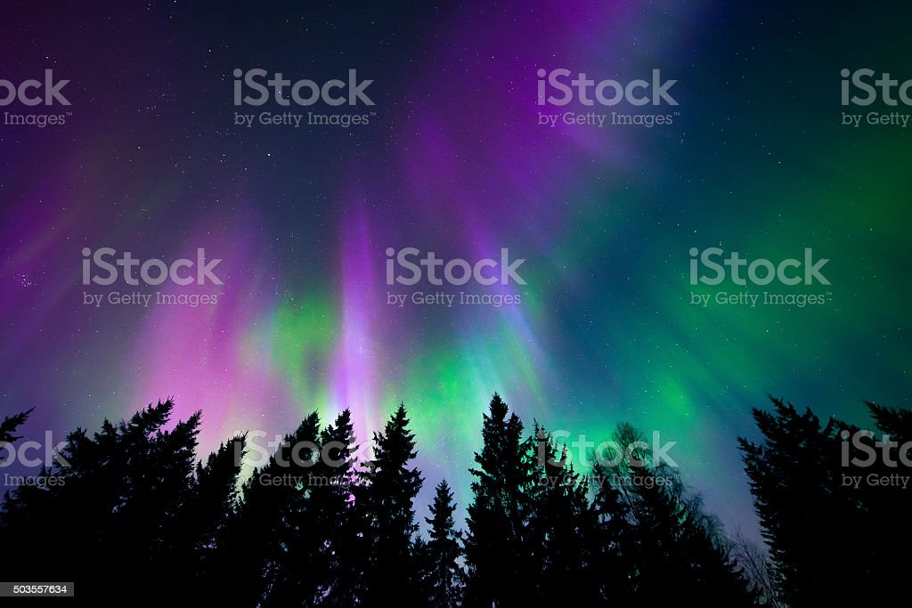 Colorful northern lights stock photo