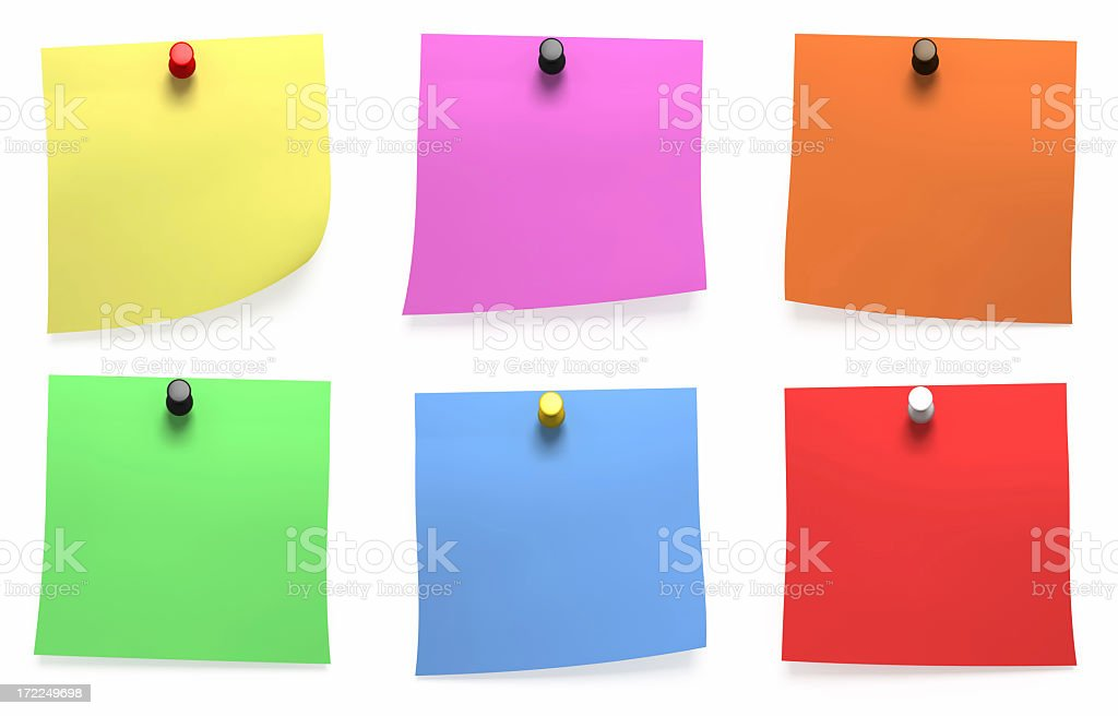 Colorful Note Papers (Isolated) royalty-free stock photo