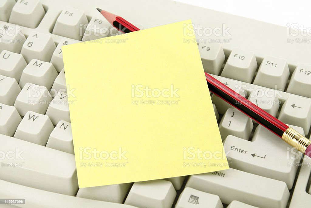 colorful notepaper and keyboard royalty-free stock photo