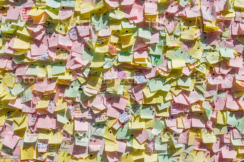 Colorful notes on a wall stock photo