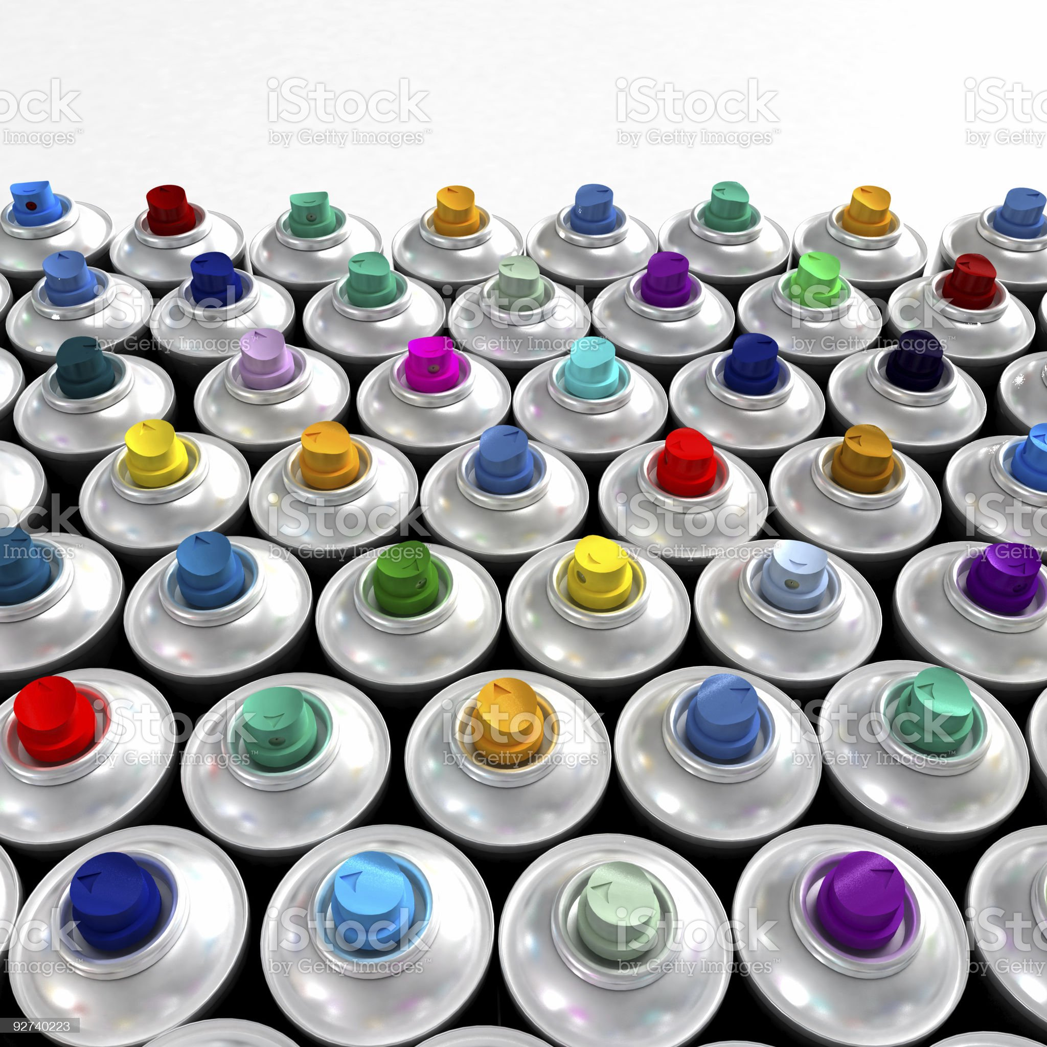colorful nozzles from aerosol cans royalty-free stock photo