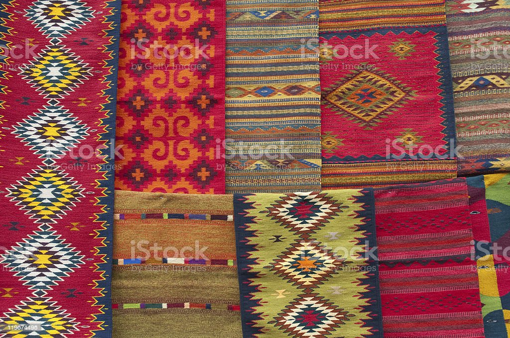 colorful Oaxacan carpets stock photo