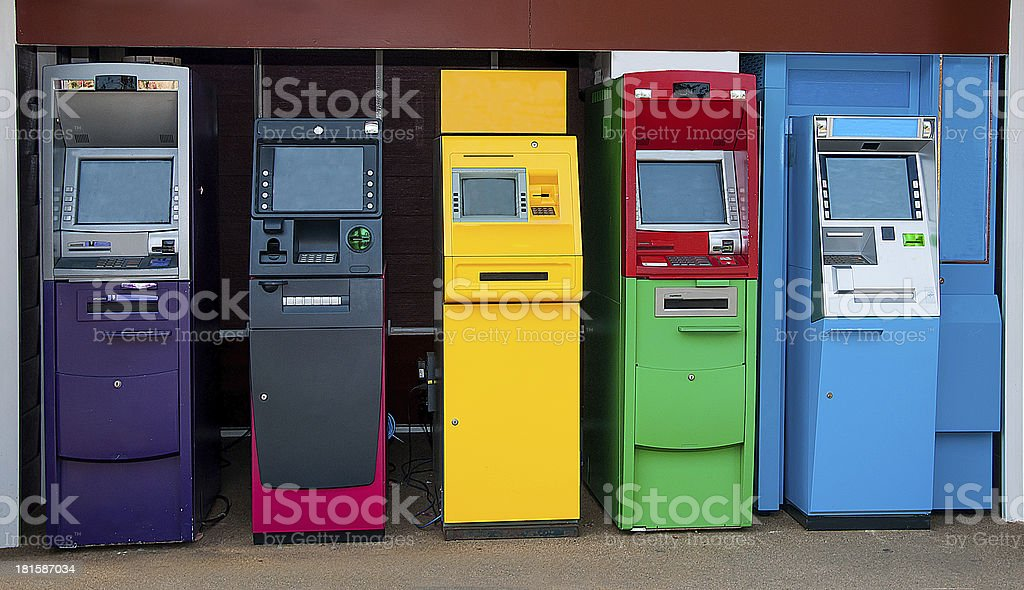 Colorful of Automated teller machine royalty-free stock photo
