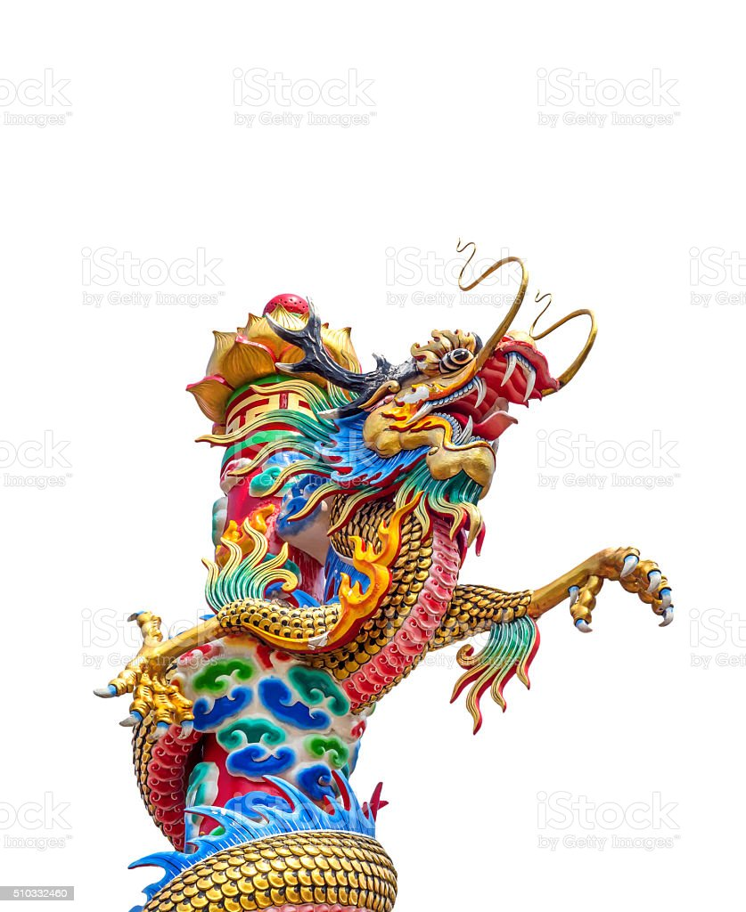 Colorful of chinese dragon statue on white background. stock photo