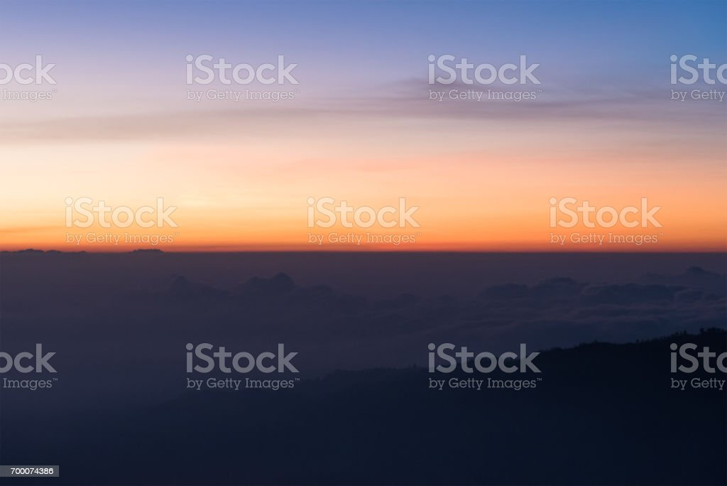Colorful of clear sky and mountain in the morning. stock photo