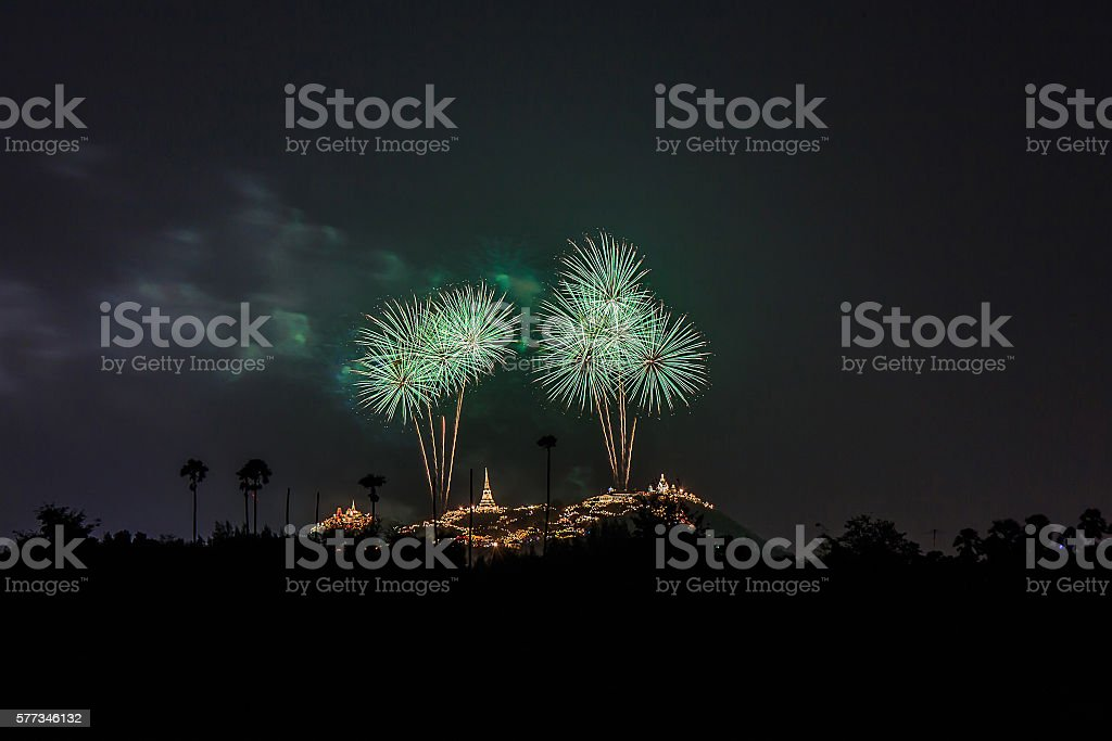 Colorful of fireworks. stock photo