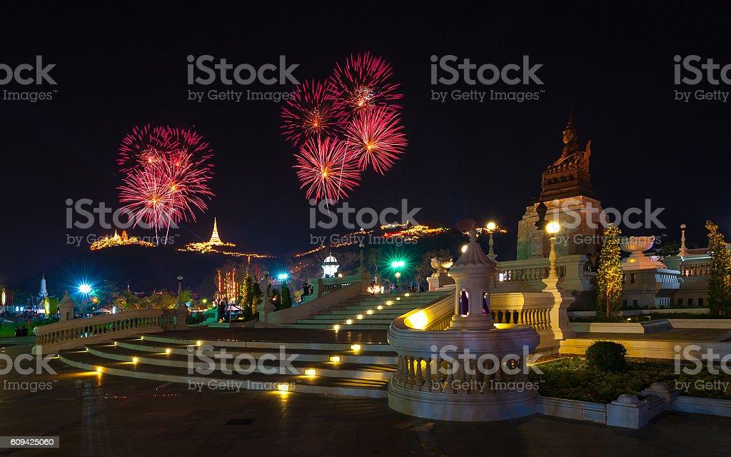 Colorful of fireworks,Phra Nakhon Khiri stock photo