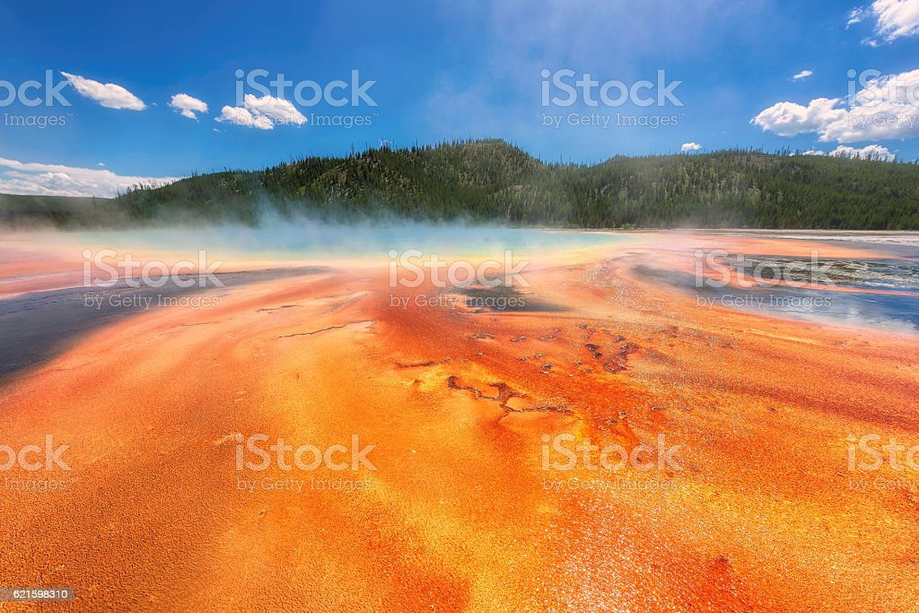 Colorful of Grand Prismatic Spring in Yellowstone stock photo