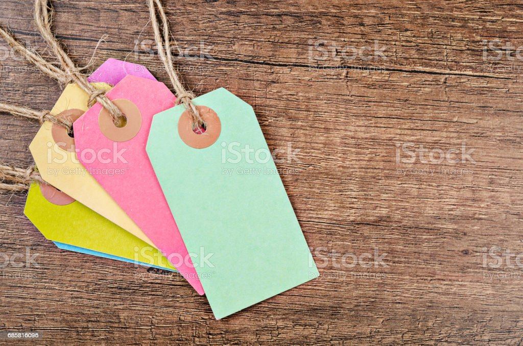 colorful of price tag or labels stock photo
