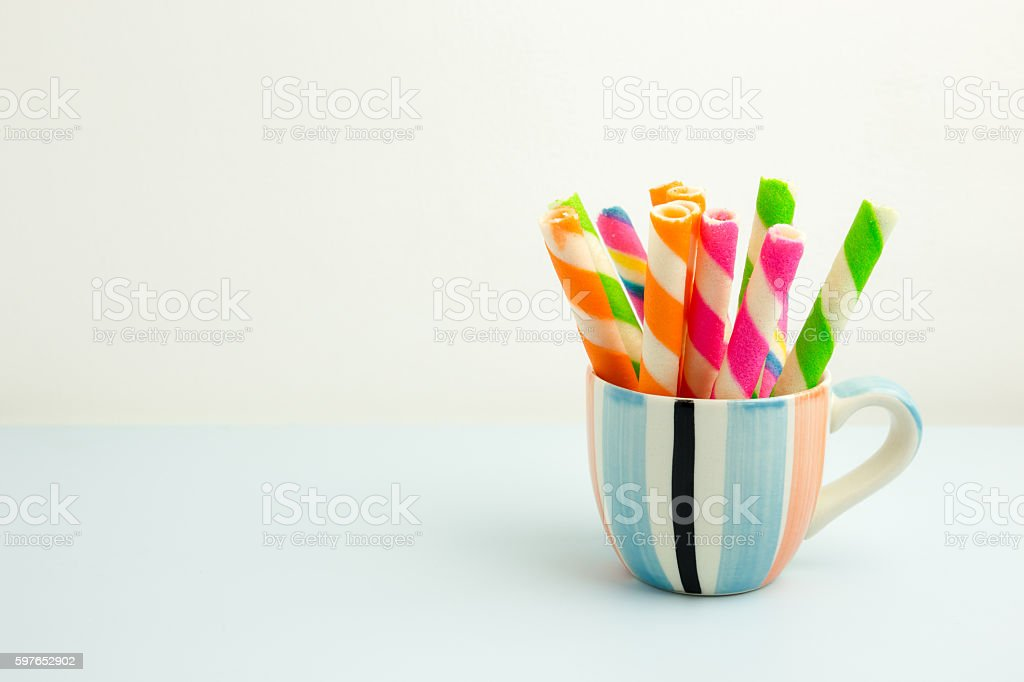 Colorful of wafer rolls in the cup stock photo