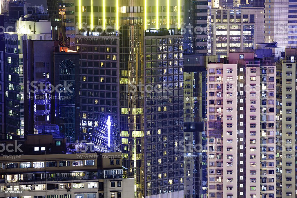 colorful office building in night royalty-free stock photo