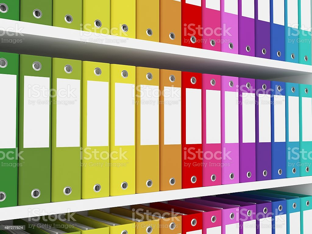 colorful office folders on the shelves stock photo