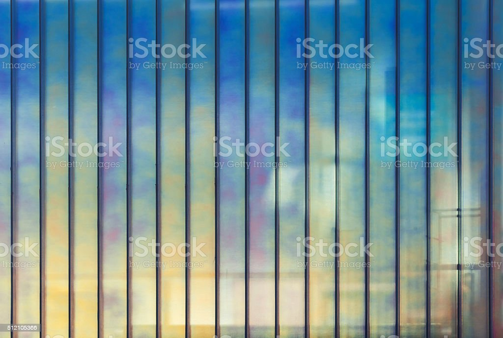 Colorful office wall made of glass, background stock photo