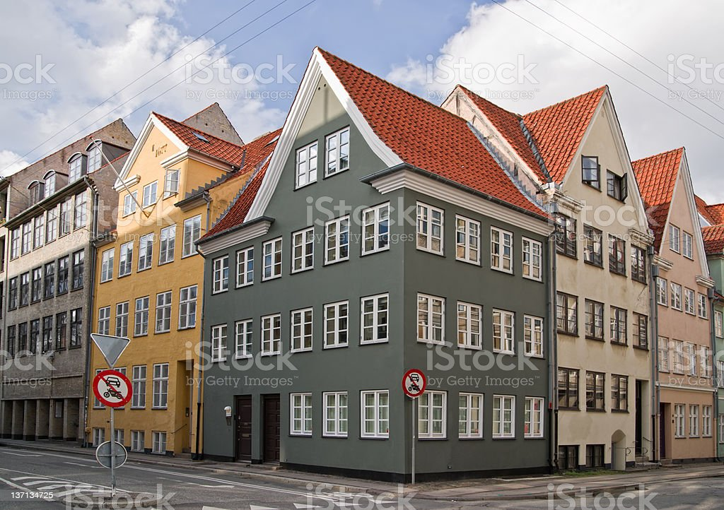 Colorful old apartment houses in Copenhagen, Denmark. royalty-free stock photo