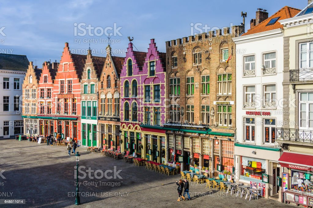 Colorful old brick buildings in the UNESCO World Heritage Town of Bruges, Belgium stock photo