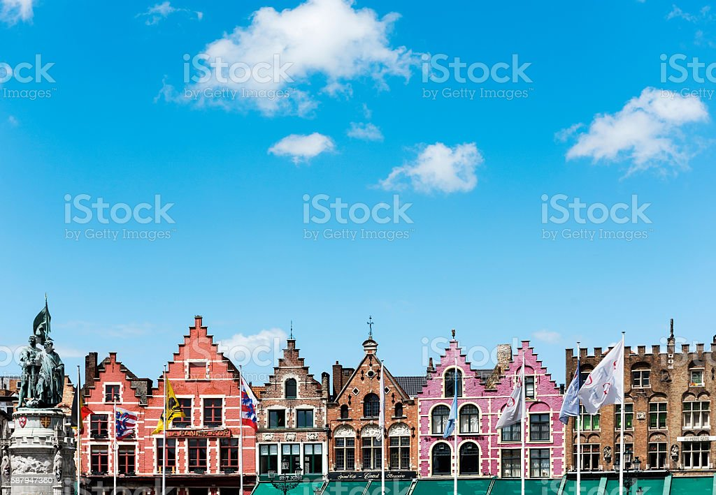 Colorful old buildings in Bruges, Belgium stock photo