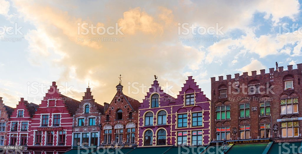 Colorful old buildings in Bruges - Belgium stock photo