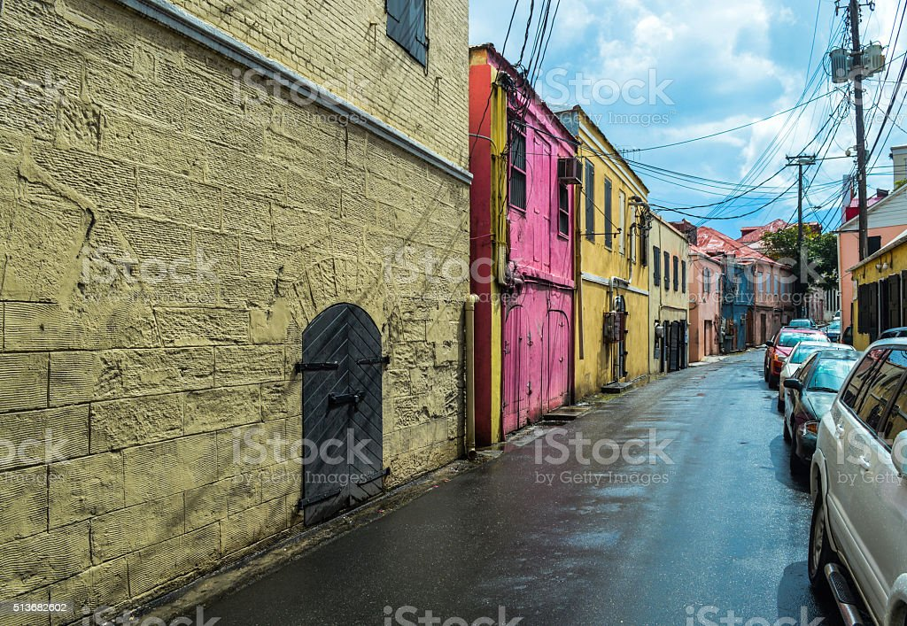 Colorful Old Colonial Architecture in the Virgin Islands stock photo