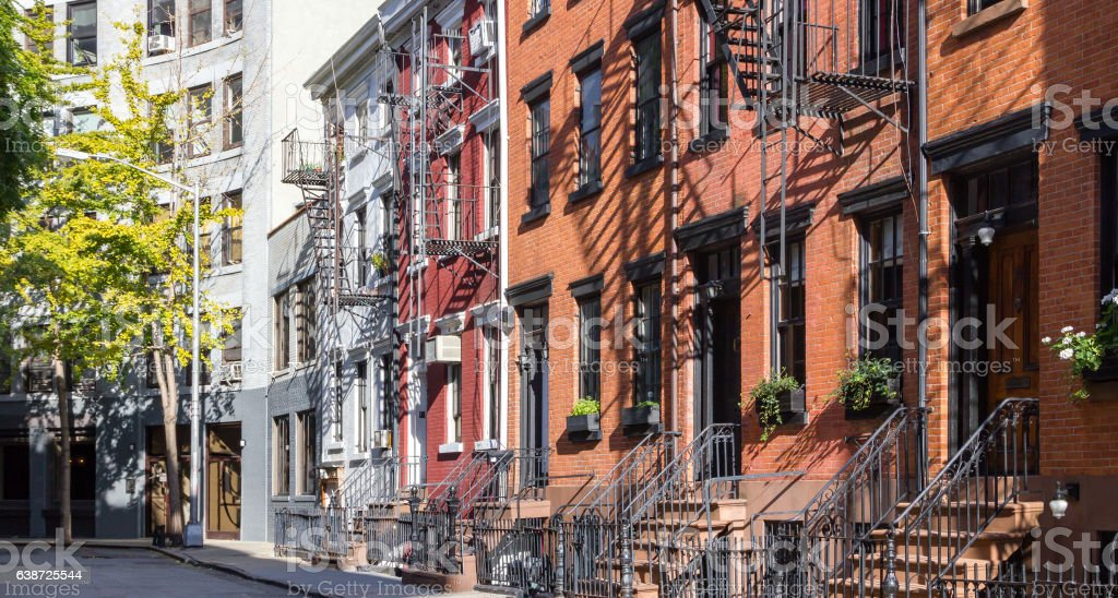 Colorful Old Houses on Gay Street in New York City stock photo